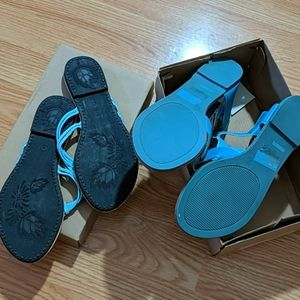 sunny feet Shoes - NWT blue flat sandal and flip flop